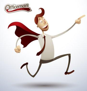 Super office man running