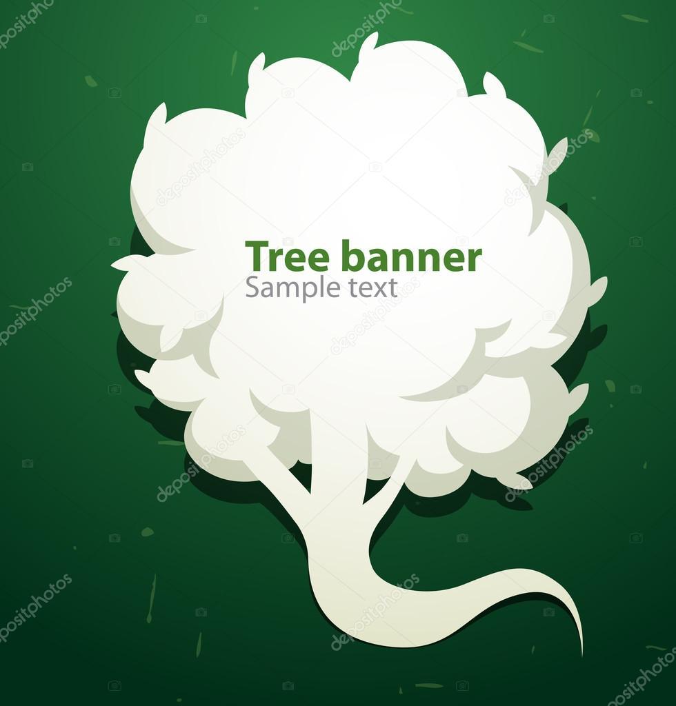 White tree banner like speech bubble on the left