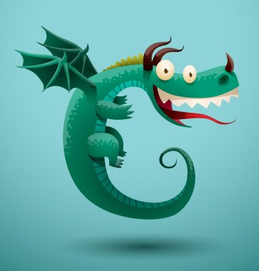 Funny dragon turquoise color
