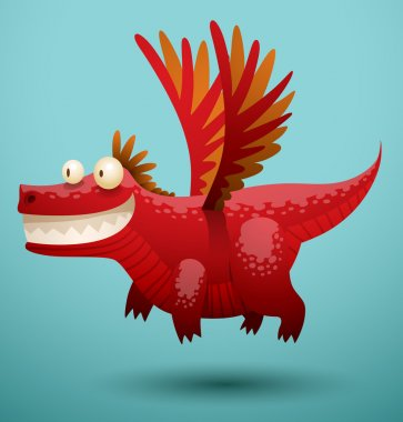 Funny dragon red color