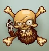 Cranio del pirata con una pipa di tabacco