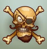 Cranio del pirata con una benda sullocchio