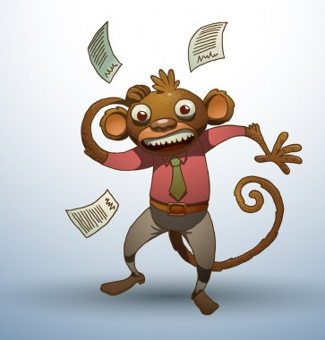 Office monkey with scattered papers around