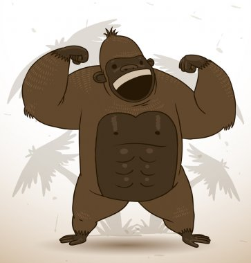 Funny gorilla flexing its muscles