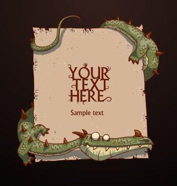 Fantasy banner green dragon