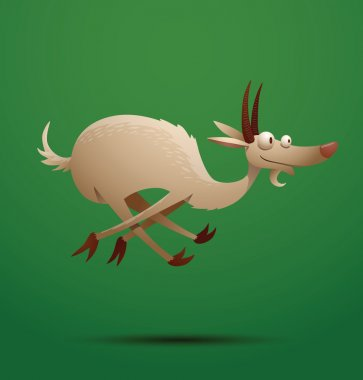 Funny goat gallops