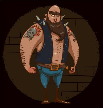 Tough biker with tattoo