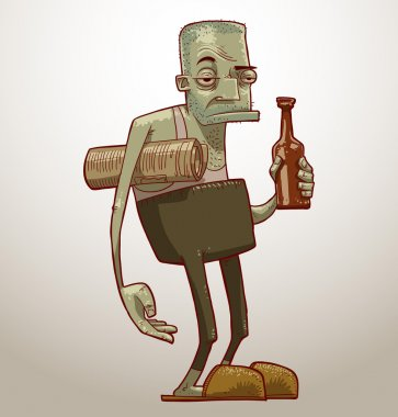 old alcoholic with beer