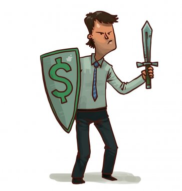 Financial warrior with dollar shield and sword
