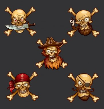 Pirate skulls set