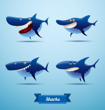 set of cartoon sharks