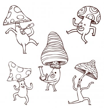 Set of party mushrooms