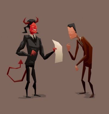 Devil with contract and businessman