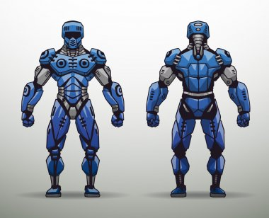 blue Cyborg soldier