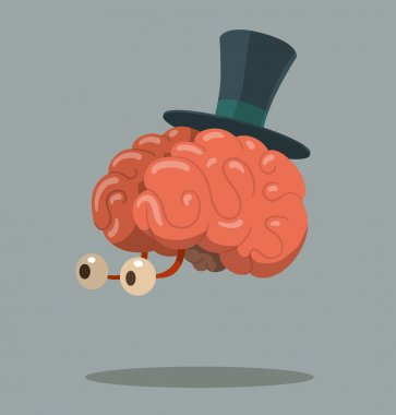 Cartoon brain with top hat