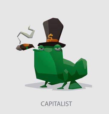 cartoon Frog the capitalist