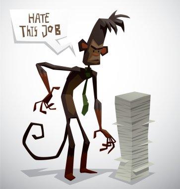cartoon monkey in office