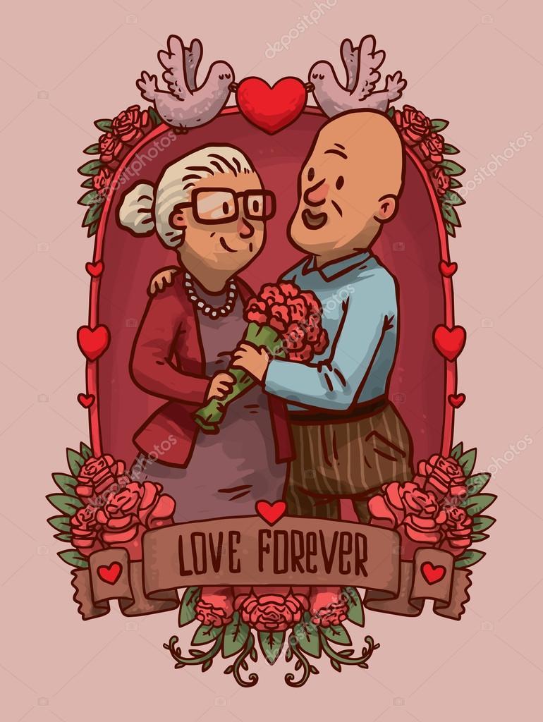Rahmen mit Happy altes Ehepaar — Stockvektor © IvanNikulin #88367948