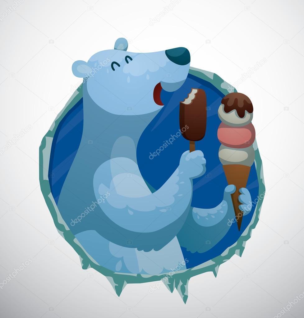 картинки медведя с мороженым
