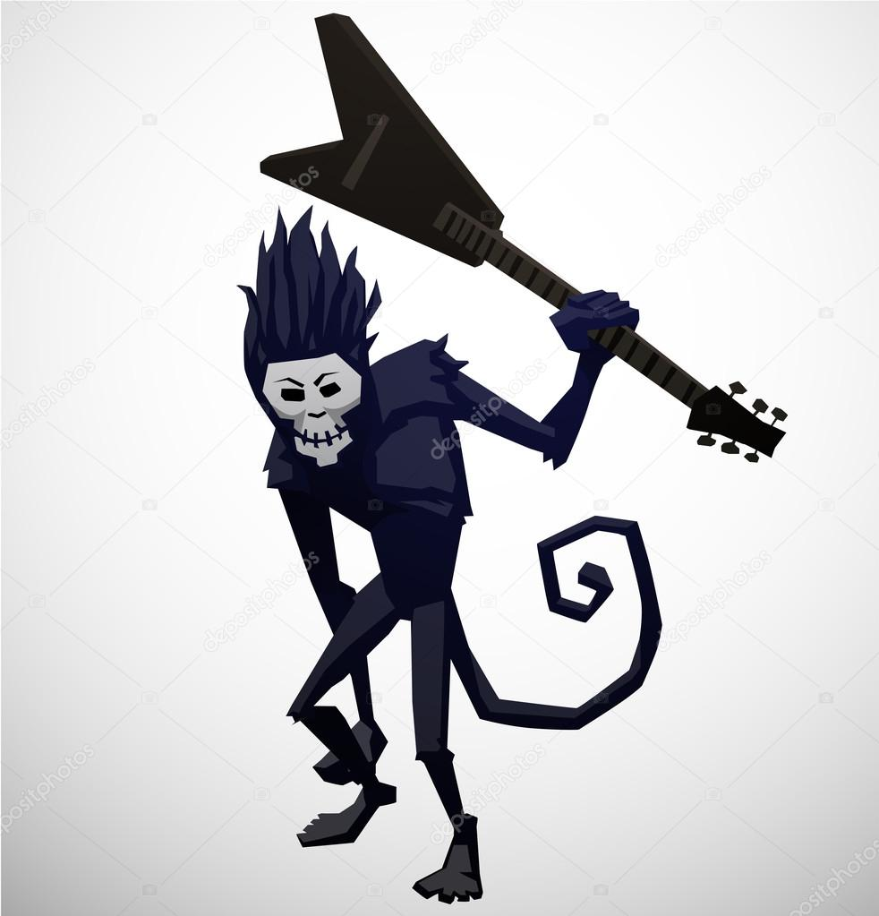 black Monkey with guitar