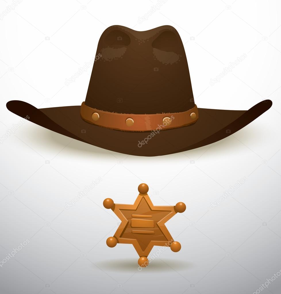 Sombrero de vaquero y sheriff estrella de — Archivo Imágenes Vectoriales 38fba7471aa