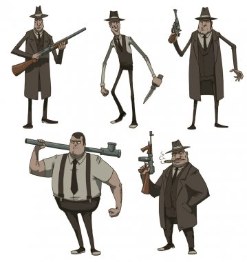 Set of Retro Mafiosi