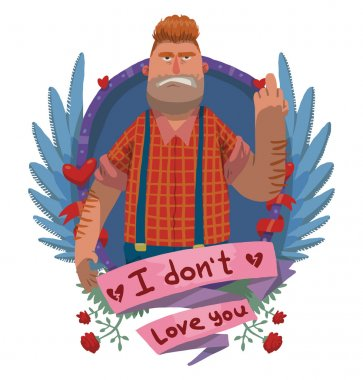 Angry fat man in frame, anti valentine card