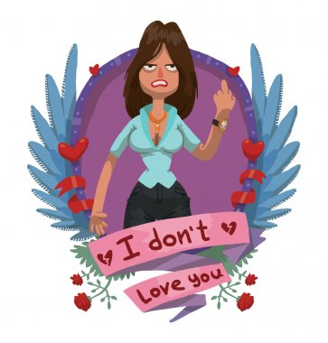 Angry woman in blue shirt frame, anti valentine card