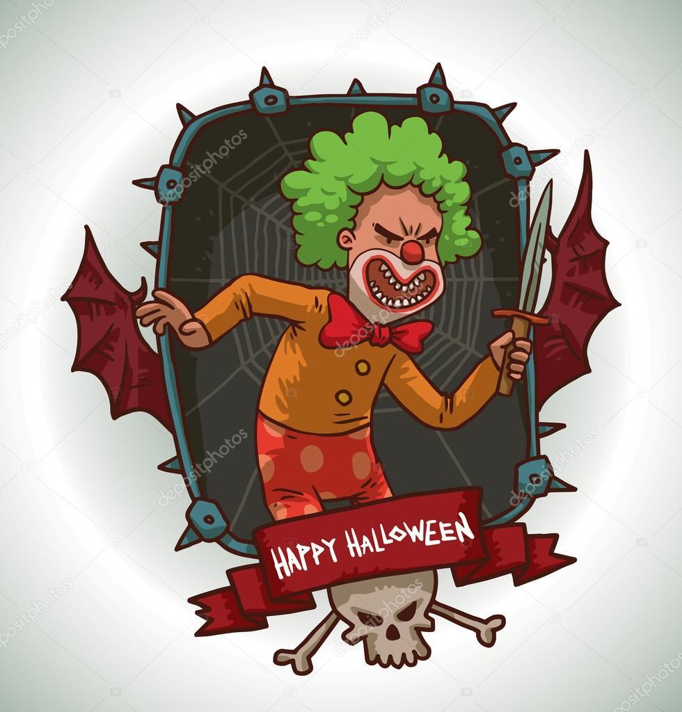 Rahmen Schlechter Clown mit Messer — Stockvektor © IvanNikulin #97293932