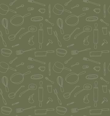 Kitchen Utensils seamless pattern on green background