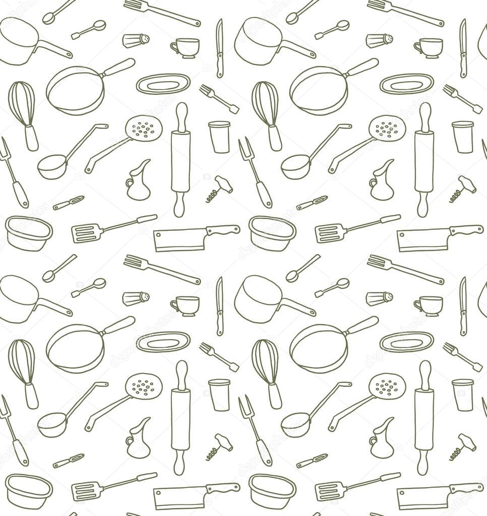 Kitchen Utensils seamless pattern, line art — Stock Vector ...