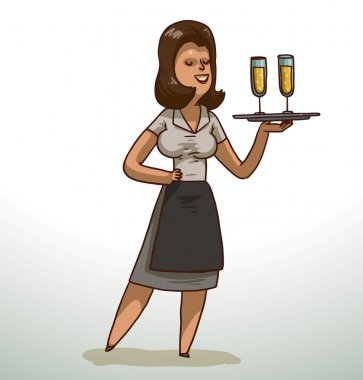 Brunette waitress with a tray of champagne