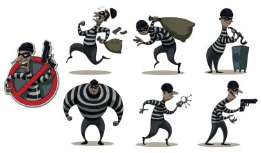 Vector Robbers in masks colored set. Cartoon image of a colored set of differents retro robbers in black masks, striped dress and with different attributes of theft in the hands on a white background. clip art vector