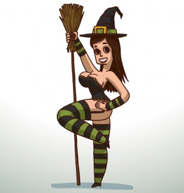 Brunette girl in Witch costume for Halloween