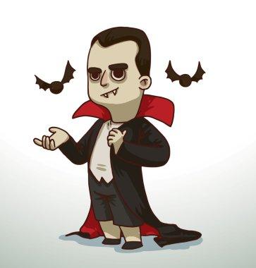 Boy in Dracula costume for Halloween