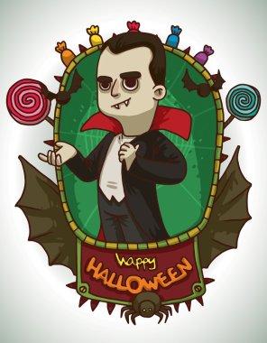 Boy in Dracula costume for Halloween, card