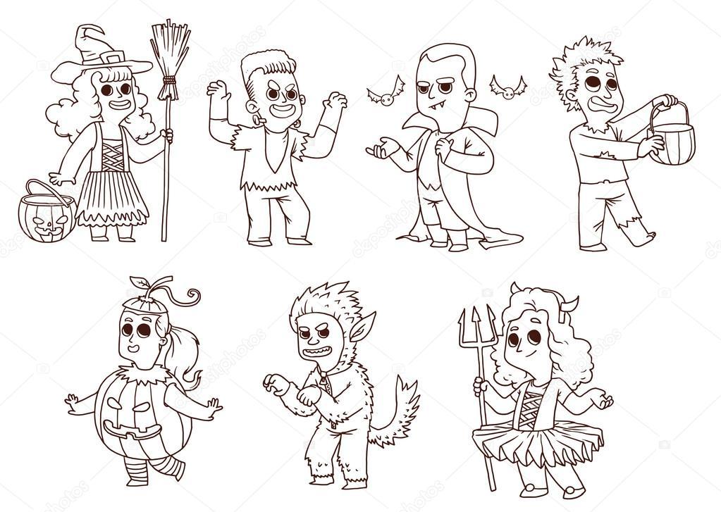 Children in costume for Halloween, line art