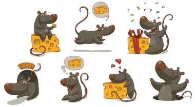 Vector Mouse and cheese set. Cartoon image of seven funny gray mice with yellow pieces of cheese in various poses on a light background. clip art vector