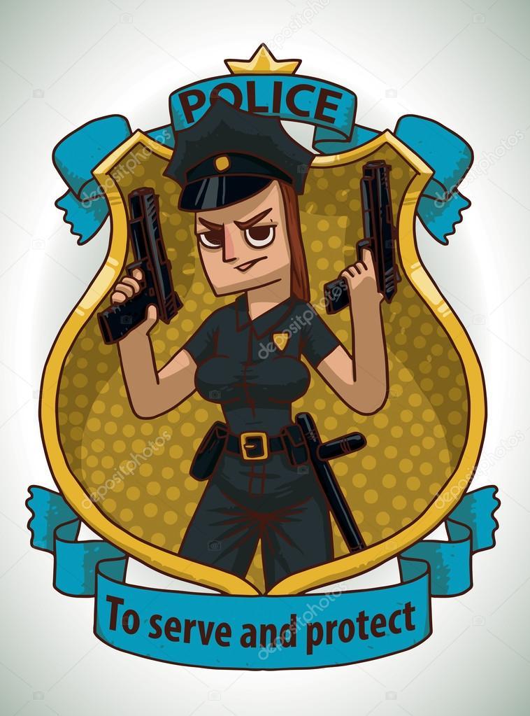 Mujer con dos pistolas de la policía, marco — Vector de stock ...