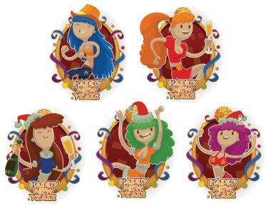Set of dancing club girls, emblems