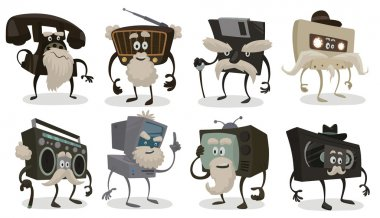 Vector Set of old things. Cartoon image of a set of old things that were popular in the past, but now is not used: disk phone, radio, diskette, audio tape, boombox, computer, TV and video tape on a light background. clip art vector