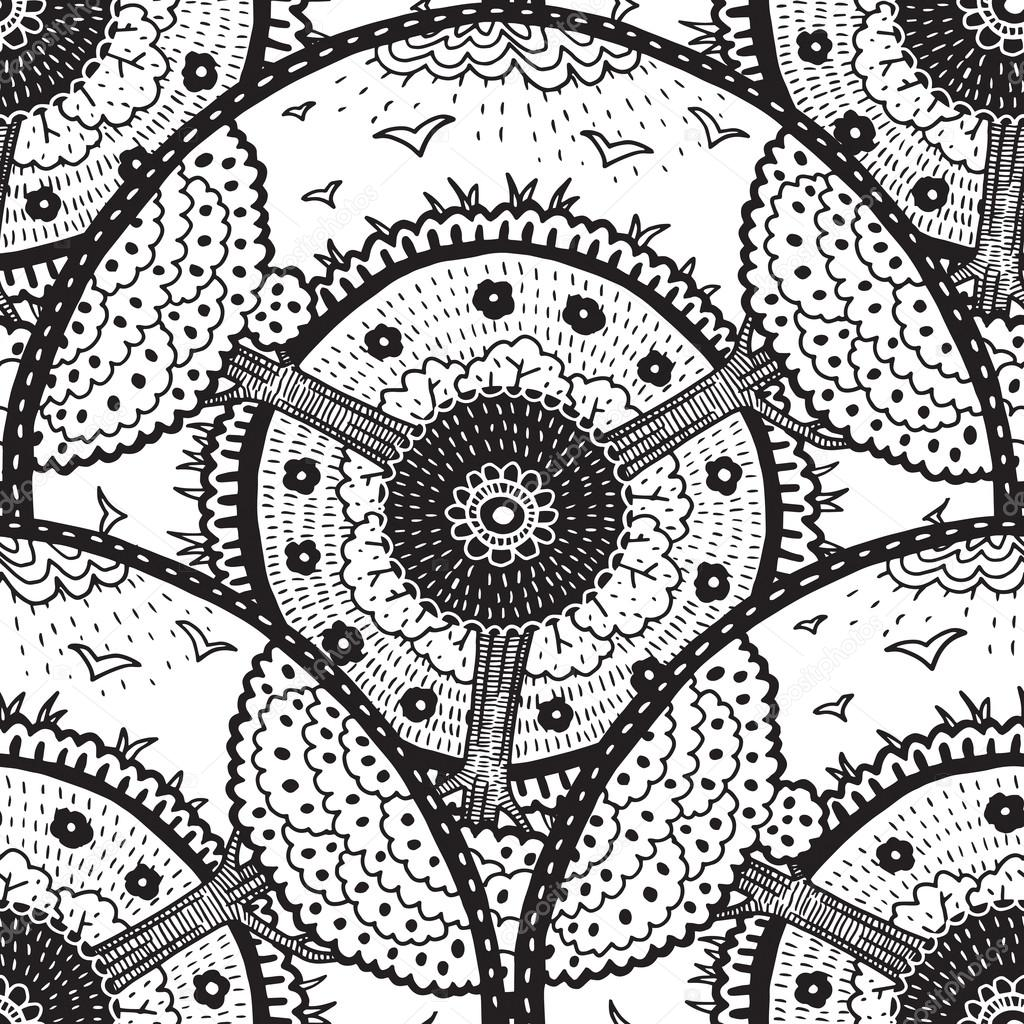 Ethnic doodle black and white seamless round pattern with trees