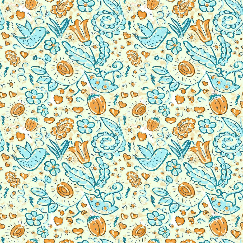 Seamless doodles birds and flowers grunge pattern