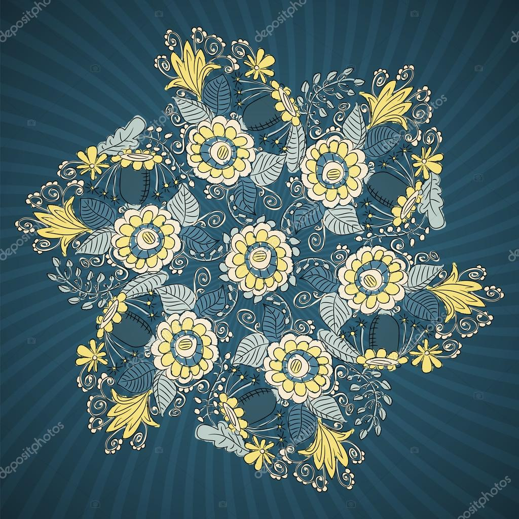 Round lace pattern with flowers and leaves