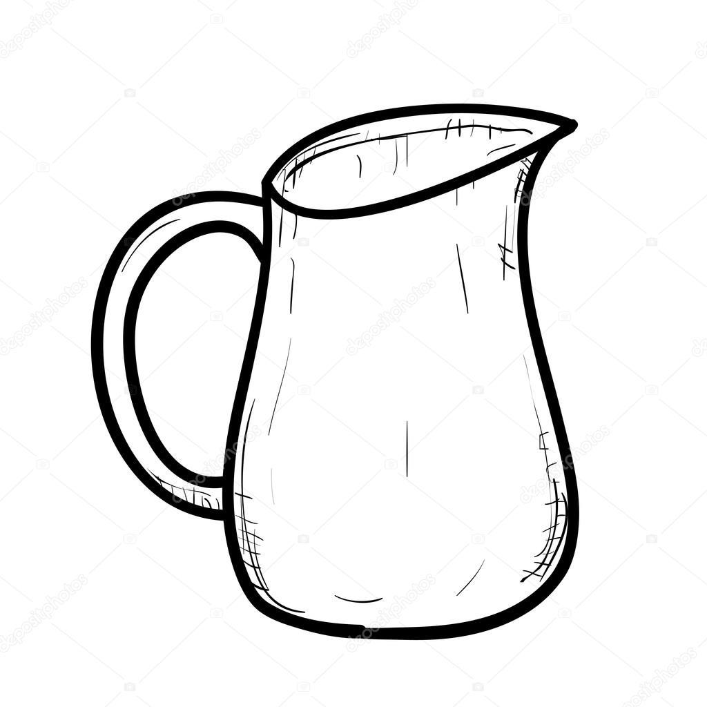 outline sketch of doodle jug stock vector 63962989