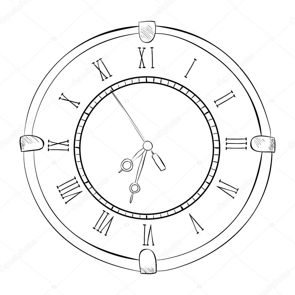 Sketch of old clock — Stock Vector © BeatWalk #89605872