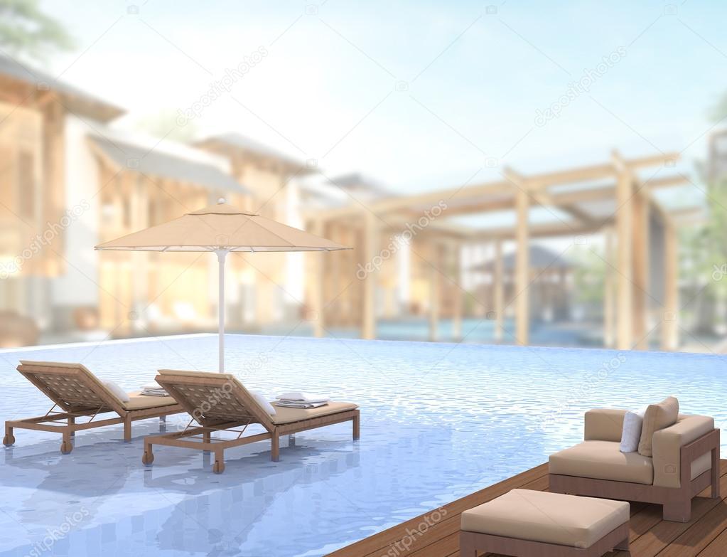 Zwembad en terras van exterieur achtergrond wazig u stockfoto