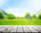 Dřevo stolu Top pozadí a zelené 3d render
