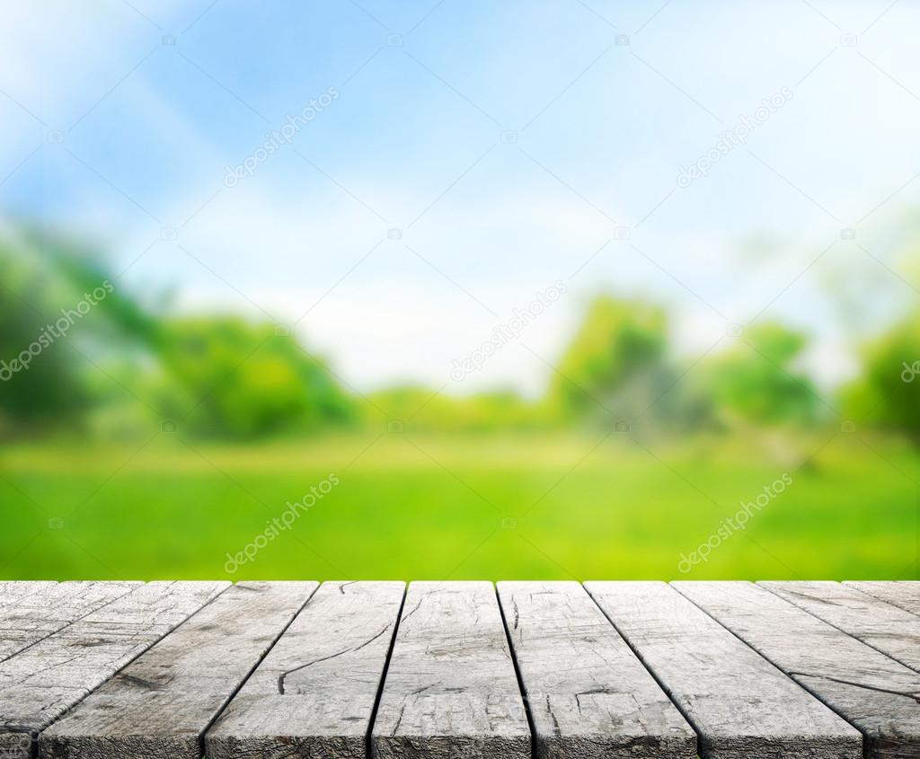 Wood Table  Top Background and Green 3d render