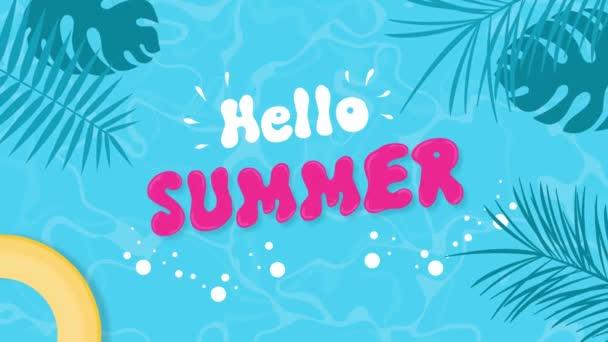 Ahoj letní text sezóna přechod karikatura bazén pláž voda oceán tropické scen